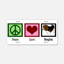Peace Love Beagles Aluminum License Plate