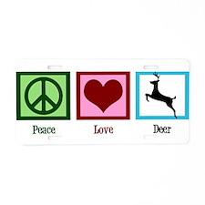 Peace Love Deer Aluminum License Plate
