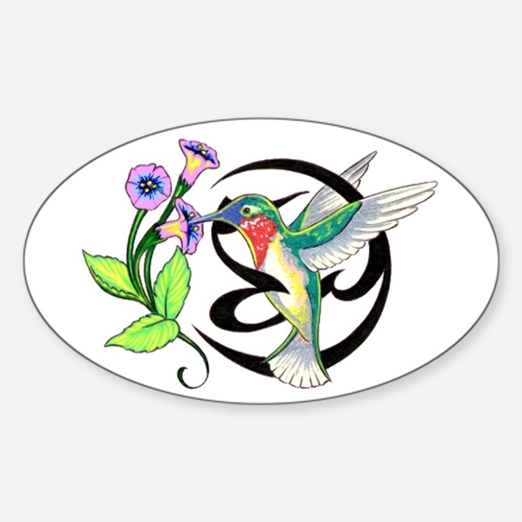 Hummingbird Tribal Oval Decal
