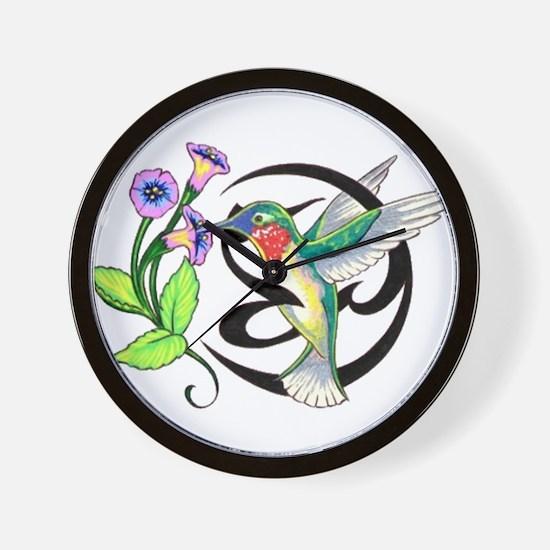 Hummingbird Tribal Wall Clock