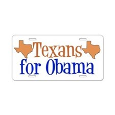 Texans for Obama Aluminum License Plate