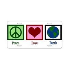 Peace Love Earth Aluminum License Plate