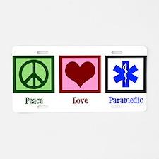 Peace Love Paramedic Aluminum License Plate