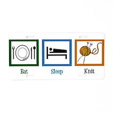 Eat Sleep Knit Aluminum License Plate