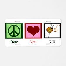 Peace Love Knit Aluminum License Plate