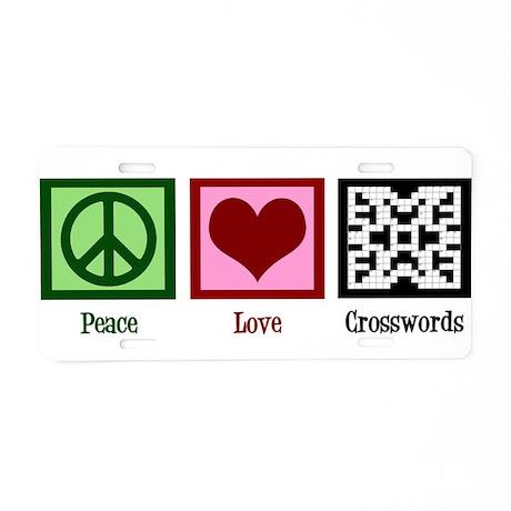 Peace Love Crosswords Aluminum License Plate