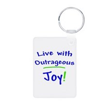 Blue Live With Outrageous Joy Keychains