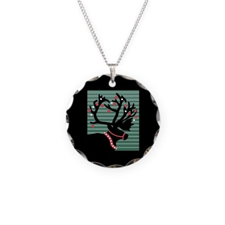 Reindeer Silhouette Necklace Circle Charm