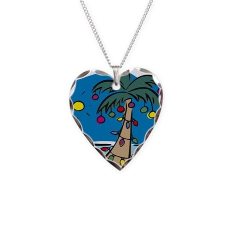 Holiday Palm Necklace Heart Charm