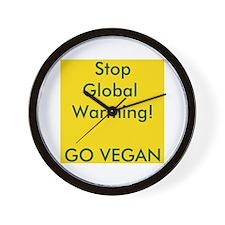 Stop Global Warming! Go Vegan Wall Clock