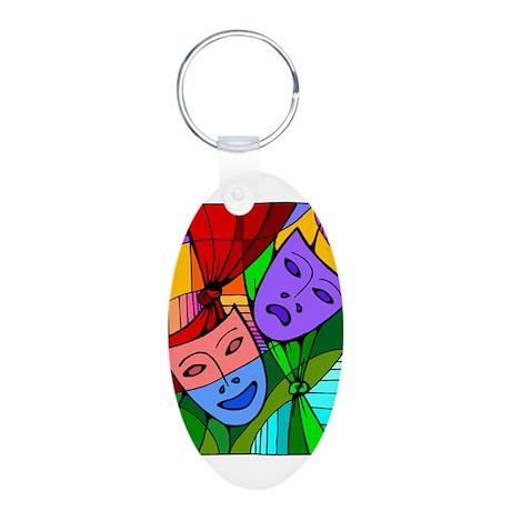 Abstract Masks Aluminum Oval Keychain