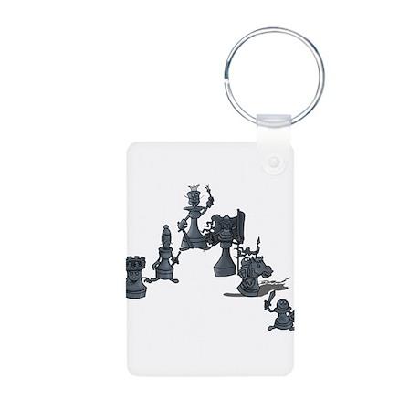 Black Chess Pieces Aluminum Photo Keychain