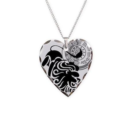 Black & White Leo Necklace Heart Charm