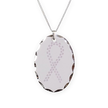 Orchid paw ribbon Necklace Oval Charm