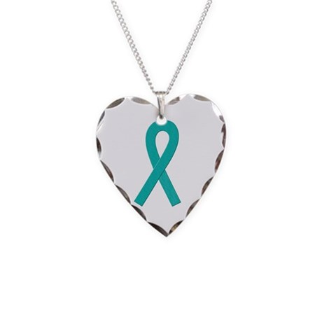 Teal Ribbon Necklace Heart Charm