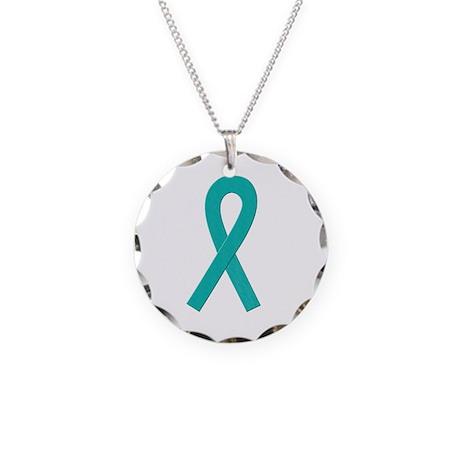 Teal Ribbon Necklace Circle Charm