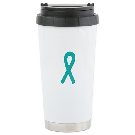 Teal Ribbon Stainless Steel Travel Mug