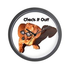 Check it Out Dauchshund Dog Wall Clock