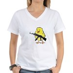 Vintage Gun Chick Women's V-Neck T-Shirt