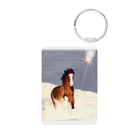 Starlight Snow Run Aluminum Photo Keychain