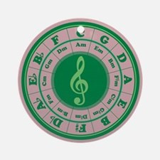 Green Circle of Fifths Ornament (Round)