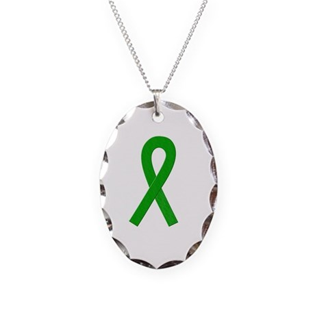 Green Ribbon Necklace Oval Charm