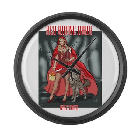 Red Riding Hood Wolf Tamer Large Wall Clock