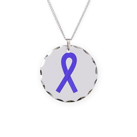 Periwinkle Ribbon Necklace Circle Charm