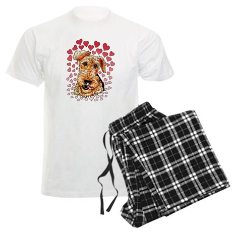 Airedale Terrier Hearts Men's Light Pajamas