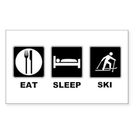 Eat Sleep Ski Sticker (Rectangle)