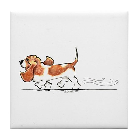 Basset Hound Places Tile Coaster