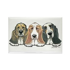 Three Bassets Rectangle Magnet (100 pack)