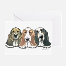 Three Bassets Greeting Card
