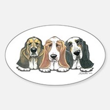 Three Bassets Sticker (Oval)