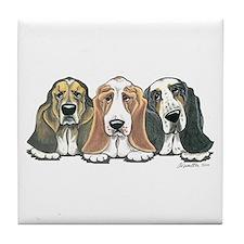Three Bassets Tile Coaster