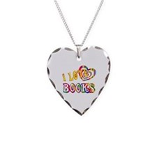 I Love Books Necklace Heart Charm