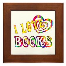 I Love Books Framed Tile