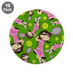 "Cute Little Tennis Girl 3.5"" Button (10 Pk)"
