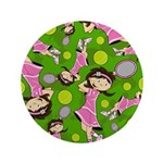 "Cute Little Tennis Girl 3.5"" Button"