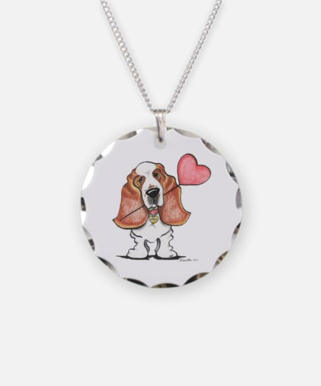 Basset Heart Balloon Necklace