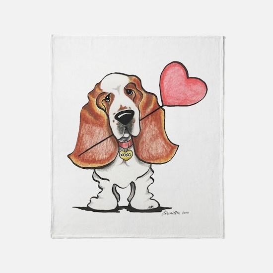 Basset Heart Balloon Throw Blanket