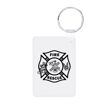 Fire Rescue Aluminum Photo Keychain