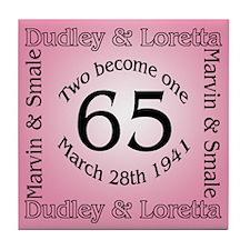 Dudley and Loretta 65th Anniversary Tile Coaster