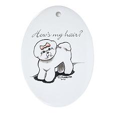 Bichon Hair Humor Ornament (Oval)