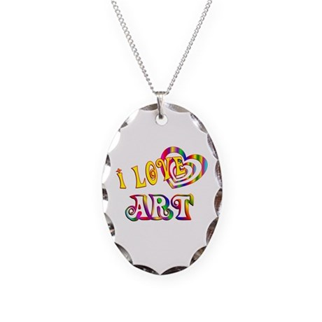 I Love Art Necklace Oval Charm
