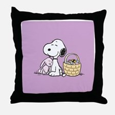 Beagle and Bunny Throw Pillow