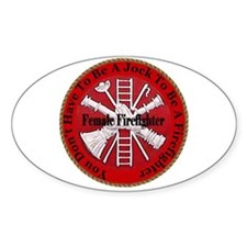 Female Firefighter Oval Decal