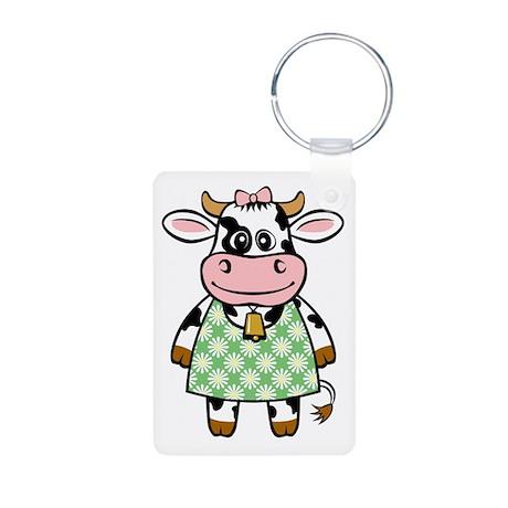 Dressed Up Cow Aluminum Photo Keychain