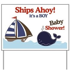 Ships Ahoy Whale & Sailboat Yard Sign