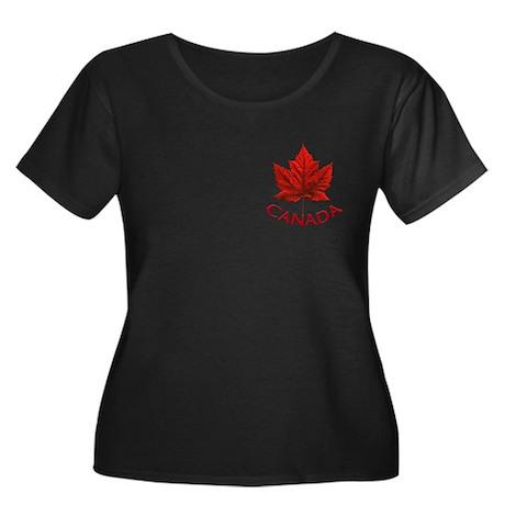 Canada Women's Plus Size Scoop Neck Dark T-Shirt